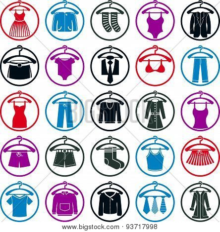 Clothes on hangers icon set, vector collection of fashion signs.