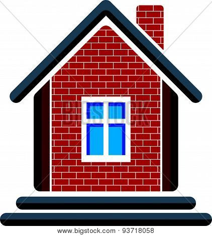 Country house constructed with red bricks, real estate. Creative home symbol