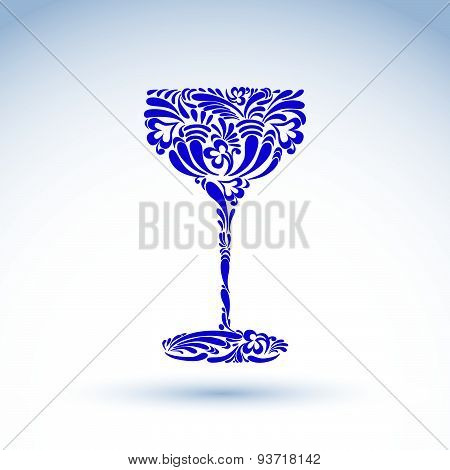 Creative goblet with floral pattern, relaxation and alcohol theme object. Sophisticated wineglass