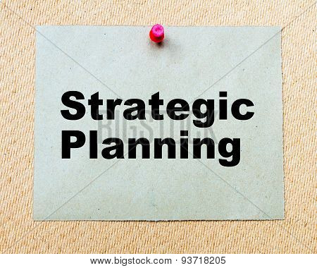 Strategic Planning  Written On Paper Note