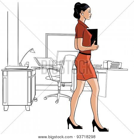 Secretary walking in an office - vector illustration