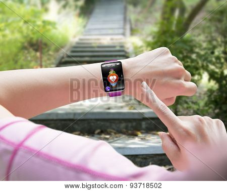 Sport Woman Finger Pointing Health Sensor Smart Watch Hand Wearing