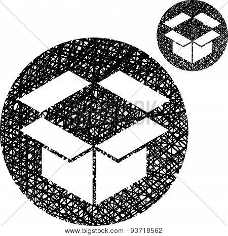 Packaging box vector icon isolated on white background with sketch lined hand drawn texture.