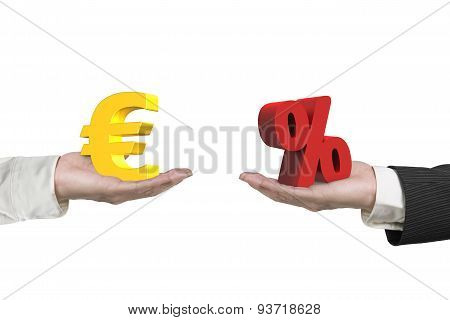 Euro Symbol And Percentage Sign With Two Hands