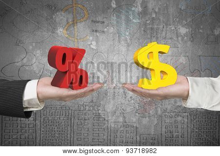 Dollar Symbol And Percentage Sign With Two Hands
