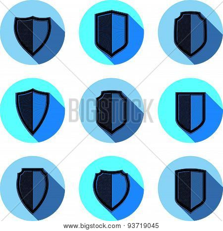 Set of stylized coat of arms, decorative defense shields collection. Heraldic symbols, Protection