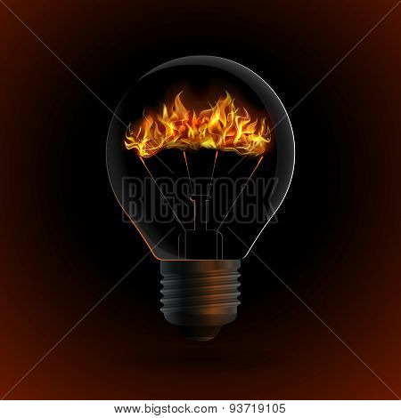 Lightbulb With Fire Isolated On Dark Background