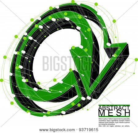 Abstract 3d mesh vector background, abstract conceptual illustration, engineering and new technology