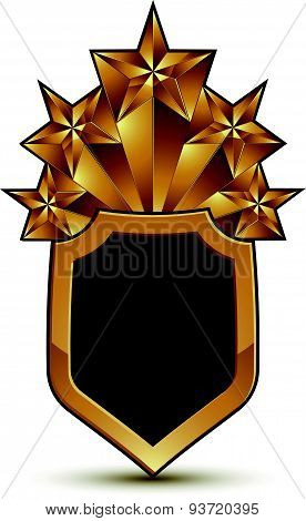 Sophisticated vector blazon with a golden star emblem, 3d polygonal glamorous design element, clear