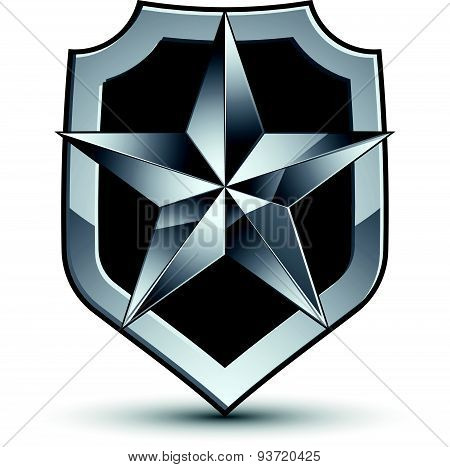 Gray geometric symbol, stylized silver star, best for use in web and graphic design, corporate vecto