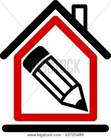 Architectural design conceptual symbol, simple house icon with edit pencil. Construction project
