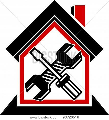 Spanner and screwdriver crossed, industrial theme, workshop symbol. Simple house with work tools