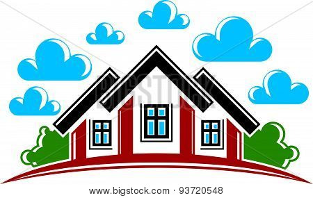 Real estate theme. Illustration of a house on sunset background. Abstract image, simple house and su