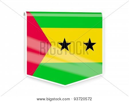Flag Label Of Sao Tome And Principe
