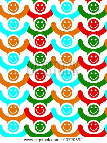 Seamless background with colorful smile faces. People with positive emotions and holding their hand