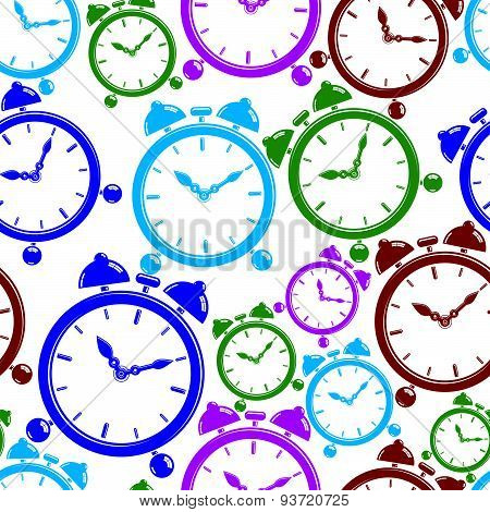 Seamless pattern with clocks, wake up idea. Simple timers, classic stopwatches. Time management symb