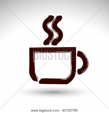 Hand drawn coffee cup icon, brush drawing cafe sign, vector illustration of hand-painted teacup