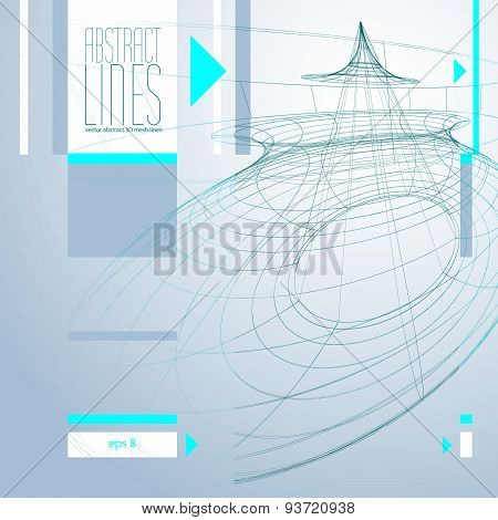 Abstract background, 3D abstract lines vector illustration, clear EPS8 vector.