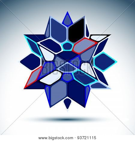 Abstract 3D sapphire festive sphere with sparkles, cobalt twinkle orb created from triangles, eps10.