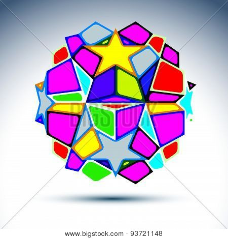 Vector dimensional modern abstract object, multicolored 3d disco ball. Psychedelic vivid globe creat