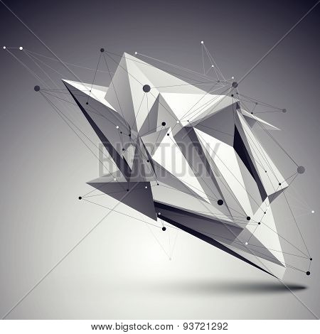 Spatial vector monochrome digital eps8 backdrop, dimensional technology element with wireframe over