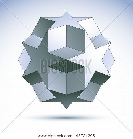 3D origami abstract object, vector abstract design element, clear EPS8.