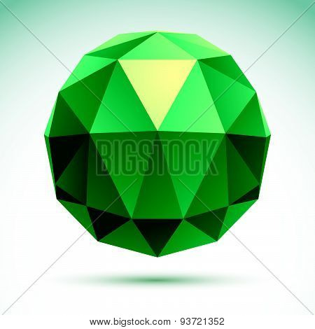 Abstract geometric 3D object, modern digital technology and science theme vector illustration, clear