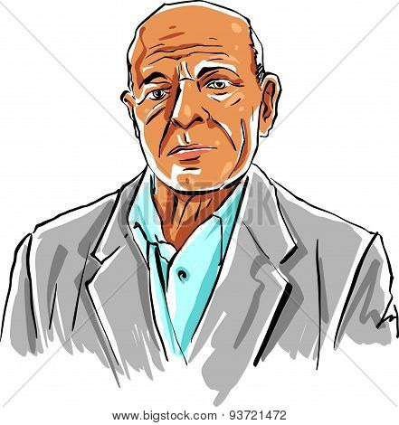 Hand drawn old man illustration on white background, grey-haired person.