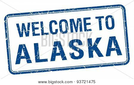 Welcome To Alaska Blue Grunge Square Stamp