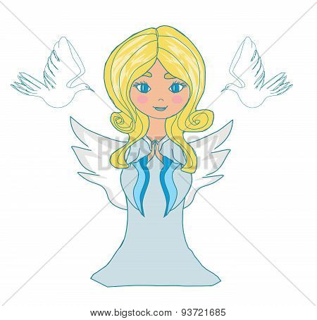 Sweet Little Girl Angel And Two Doves