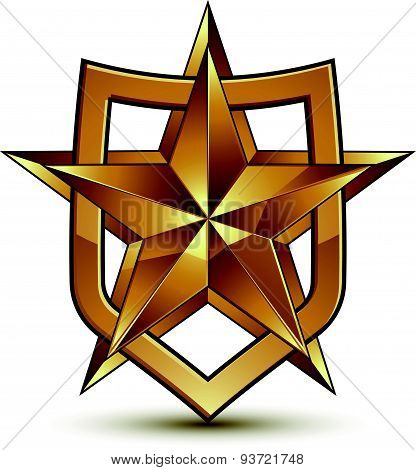 Golden geometric symbol, stylized golden star, best for use in web and graphic design, vector