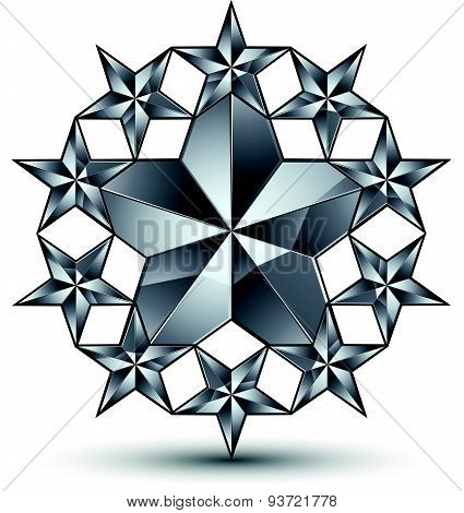 Glamorous vector rounded template with pentagonal silvery stars, graphic design