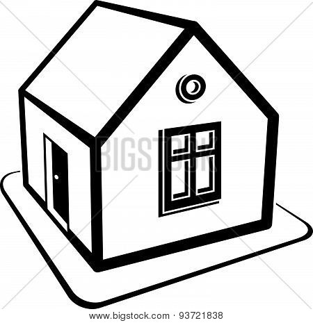 Real estate simple business icon isolated on white background, abstract house depiction. Property