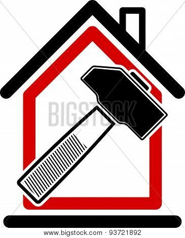 Classic mallet icon, industrial utensil. Simple house with work tools, workshop. Home reconstruction