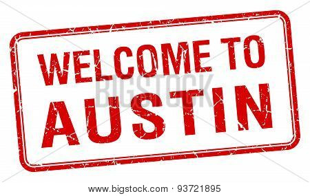 Welcome To Austin Red Grunge Square Stamp