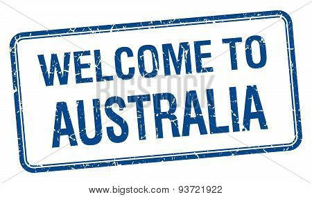 Welcome To Australia Blue Grunge Square Stamp