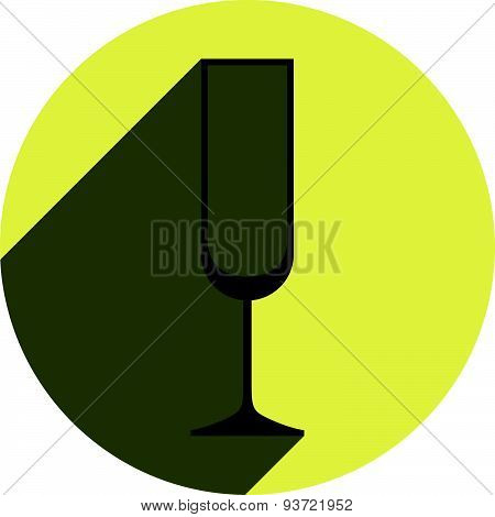 Alcohol theme vector icon, champagne goblet placed in a circle. Colorful restaurant brand emblem.
