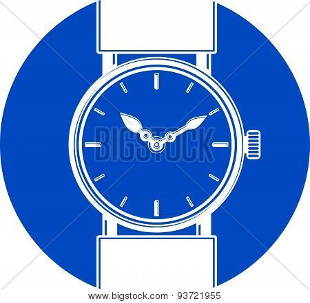 Stylish wristwatch vector illustration, elegant timepiece with dial and an hour hand. Corporate desi
