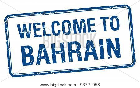 Welcome To Bahrain Blue Grunge Square Stamp