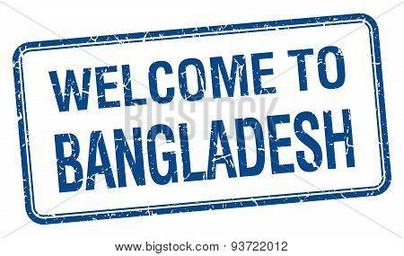 Welcome To Bangladesh Blue Grunge Square Stamp