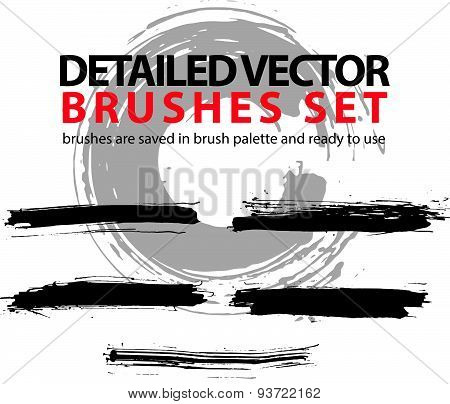 Set of grunge detailed hand-painted brushstrokes, black illustrator muddy vector strokes, unusual gr