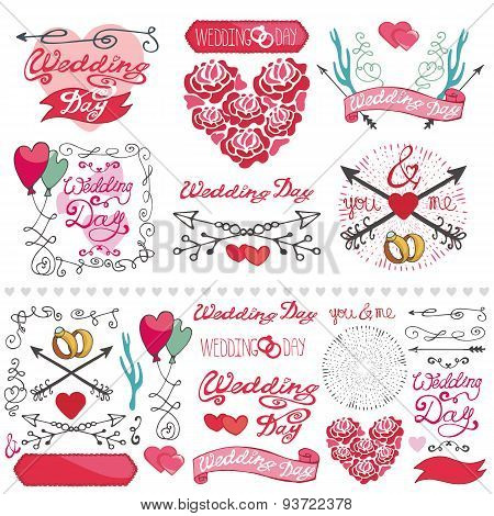 Wedding decor elements set.Labels,card,invitation