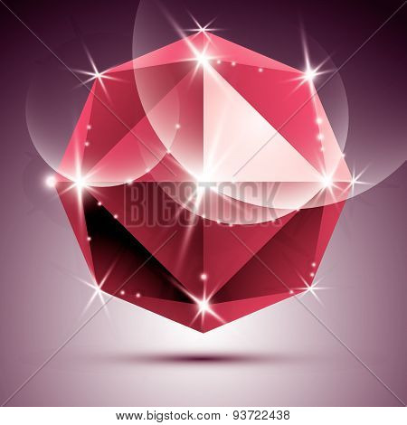 Vector stylish illustration, shiny ruby effect, eps10. Celebration 3D red glossy ball.