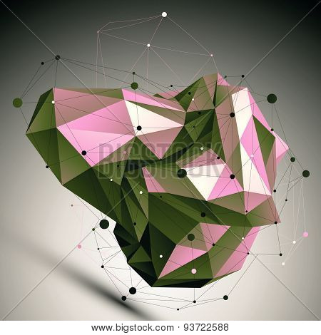 Spatial technological shape, polygonal single color eps8 wireframe object placed over dark backgroun