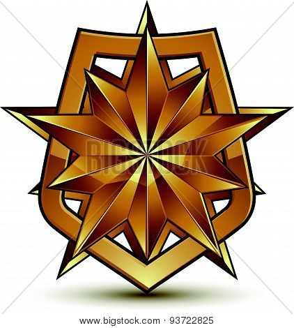 Golden geometric symbol, stylized golden polygonal star, best for use in web and graphic design