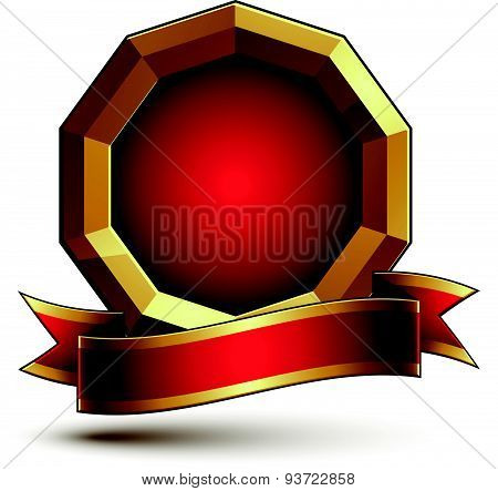 3d vector classic royal symbol, sophisticated golden ring with red wavy ribbon, emblem