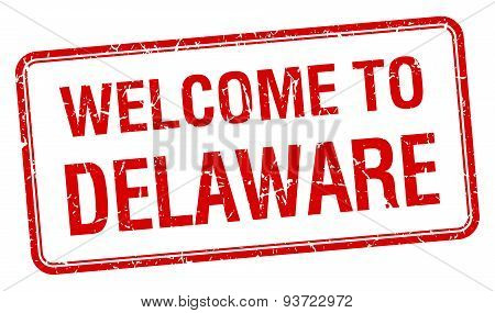 Welcome To Delaware Red Grunge Square Stamp
