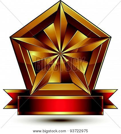 Vector glorious glossy design element. Luxury 3d pentagonal golden star placed on a decorative blazo