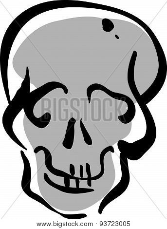 Illustrated vector hand drawn human skull icon.