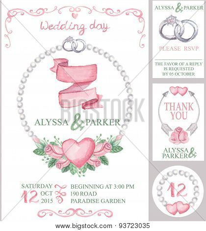Watercolor wedding invitation set.Pink roses,pearls,rings